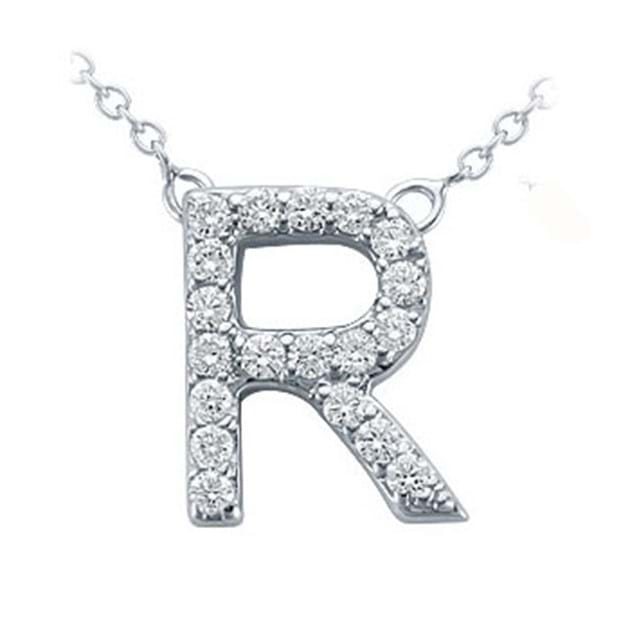 14K White Gold Pavé Diamond Letter R Pen