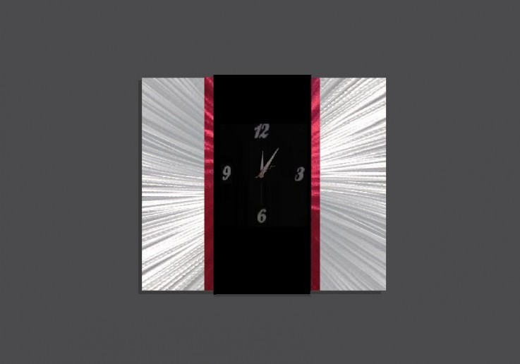 Large Decor Art Clock Red