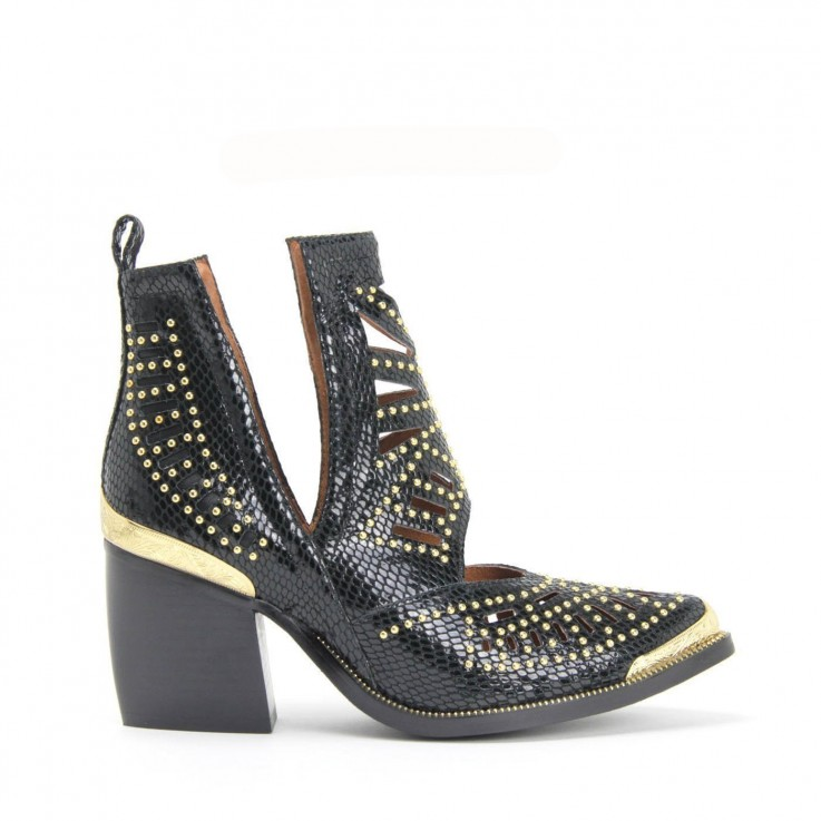 MACEO CUT-OUT STUD BOOT BLACK SNAKE