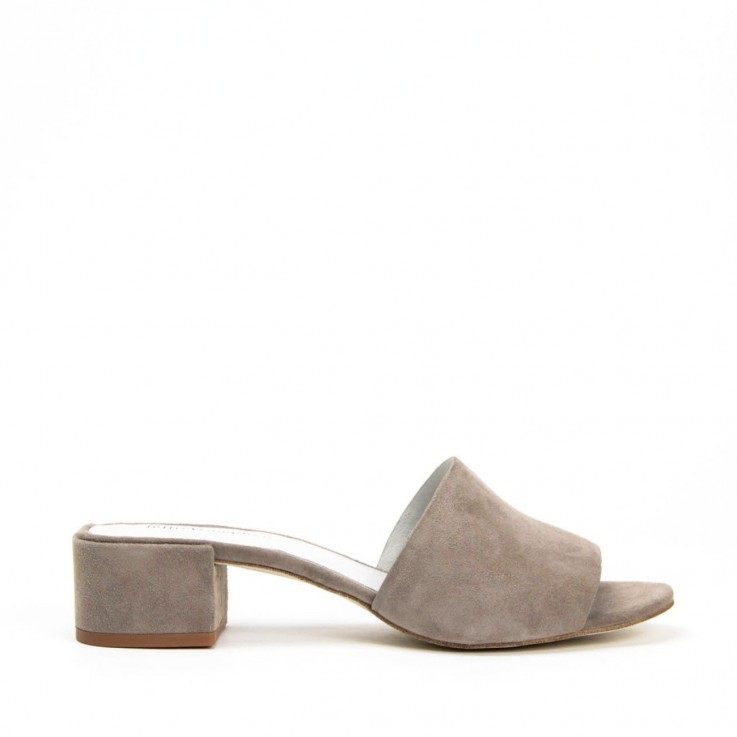 JEFFREY CAMPBELL BEATON MULE Taupe Suede