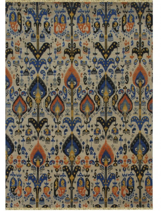 IKAT HAND KNOTTED 10/10 WOOL RUG
