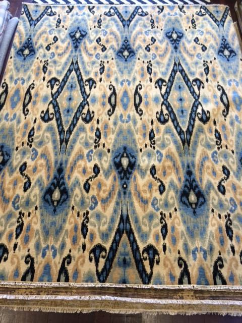 IKAT WOOL RUG BLACK/BLUE/CREAM