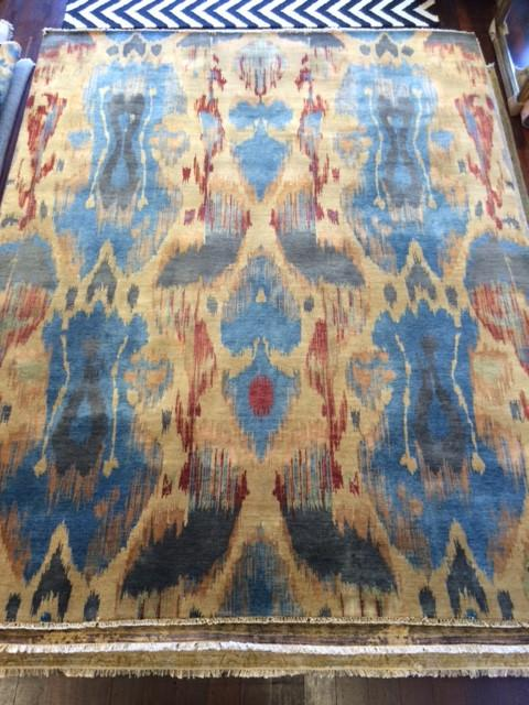 IKAT WOOL RUG BLUE/YELLOW/RED