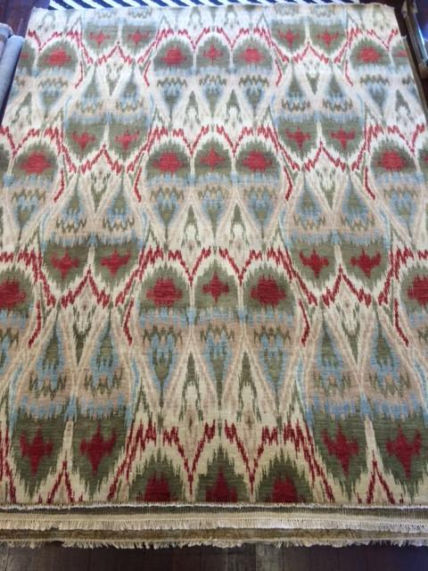 IKAT WOOL RUG GREENS/REDS