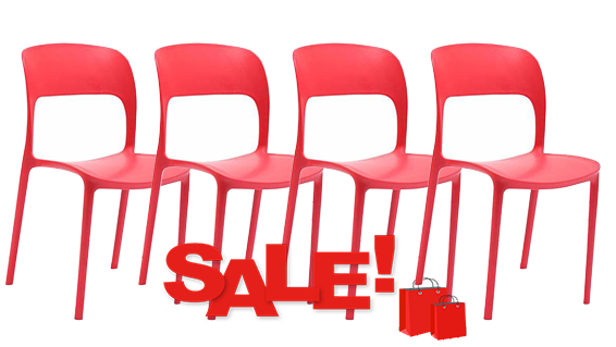 GIPSY PLASTIC RESIN CHAIR RED SET OF 4