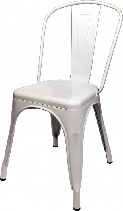WHITE REPLICA TOLIX CAFE CHAIR HIGH BACK