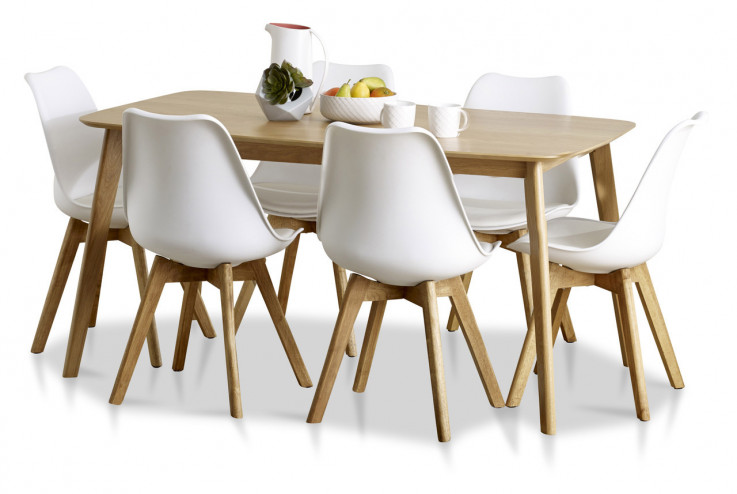 Helsinki rectangle table with 6 Ryde cha