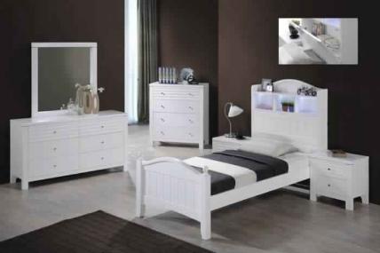 DORA KING SINGLE BED-WHITE