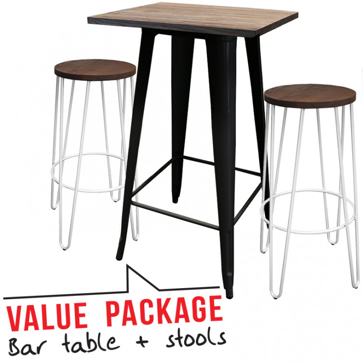 Tolix Bar Table – Small & Two Hairpin Ba