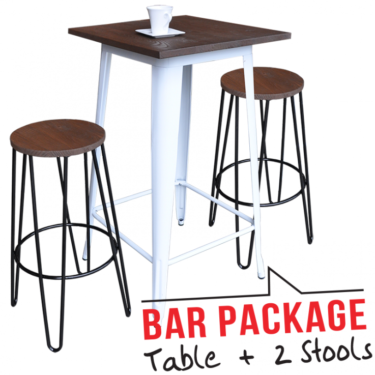 Tolix Bar Table – Large & Two Hairpin Ba