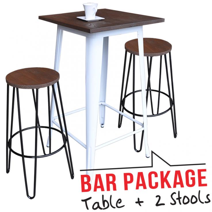 Tolix Bar Table – Large & Two Tolix Bar