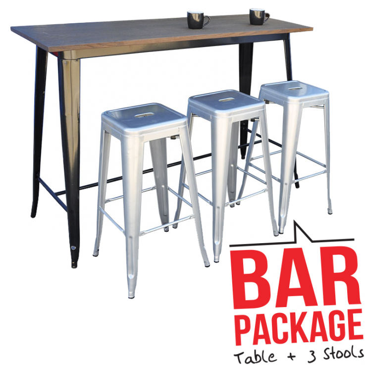 Replica Tolix Bar Table With 3 Tolix Sto