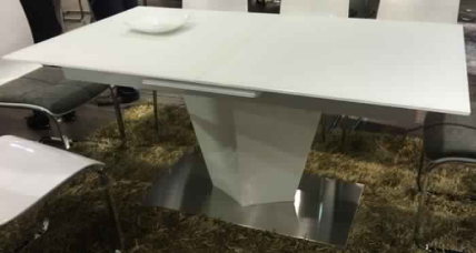 CAVA 2M*1M EXT TABLE W GLASS-HG WHITE