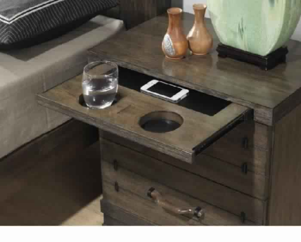 SIENNA 2 DRAW BEDSIDE-CHARCOAL GREY