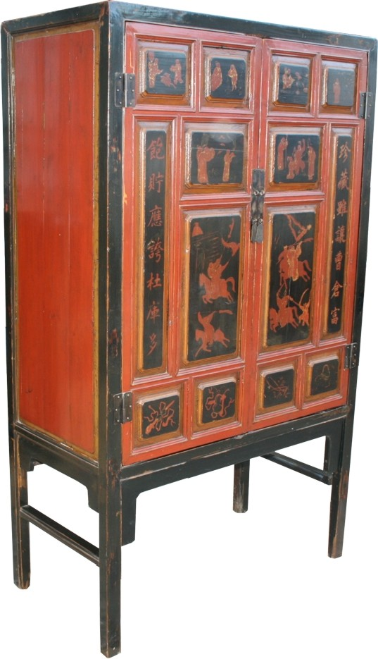 Chinese Cabinet with Writing and Drawing