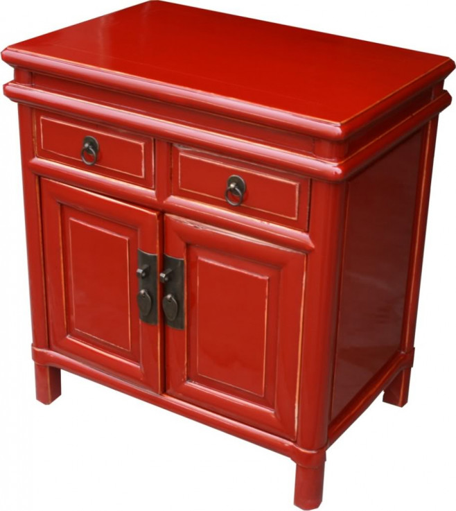 Red Lacquered Bedside Table