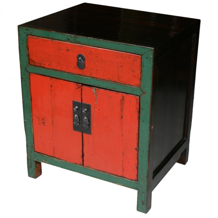 Original Green and Red Bedside Cabinet