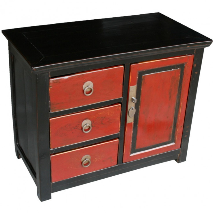 Red and Black Bedside Table