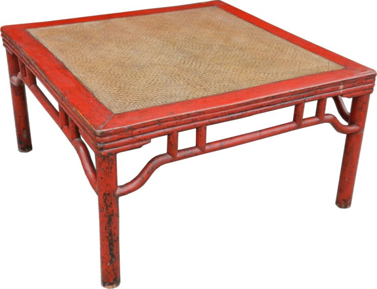 Red Rattan Inlay Coffee Table