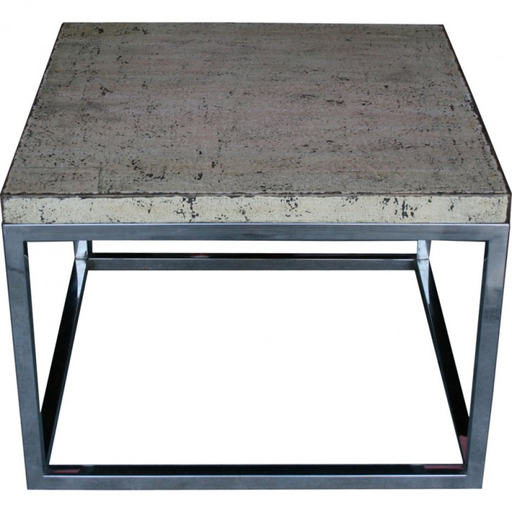 Side Table with Framed Stainless Steel L