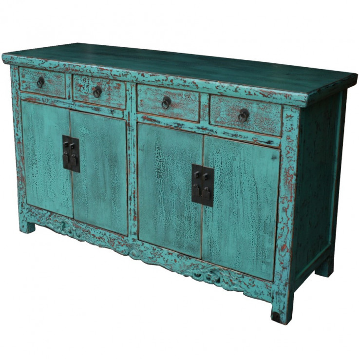 Chinese Turquoise Sideboard Buffet w/Car
