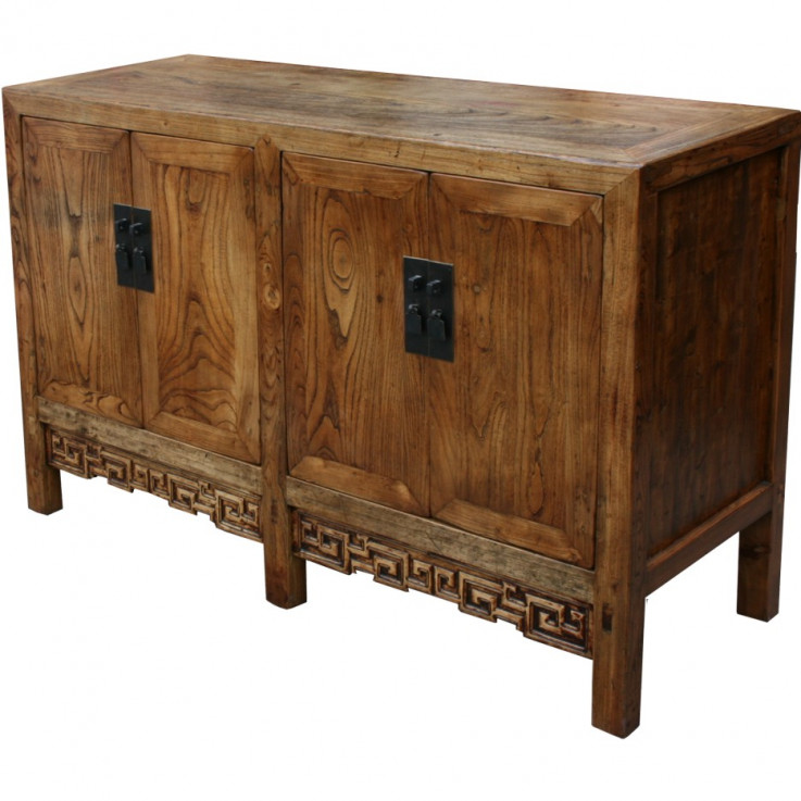 Natural Elm Chinese Sideboard w/ Carving
