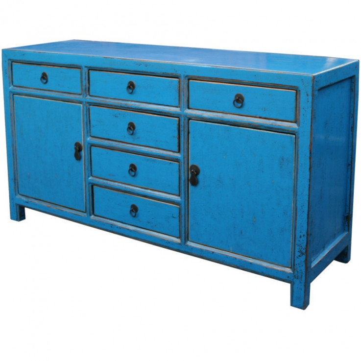 Blue Lacquered 6-Drawer Sideboard