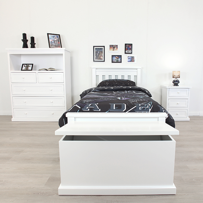 RAINBOW WHITE SINGLE BED FRAME
