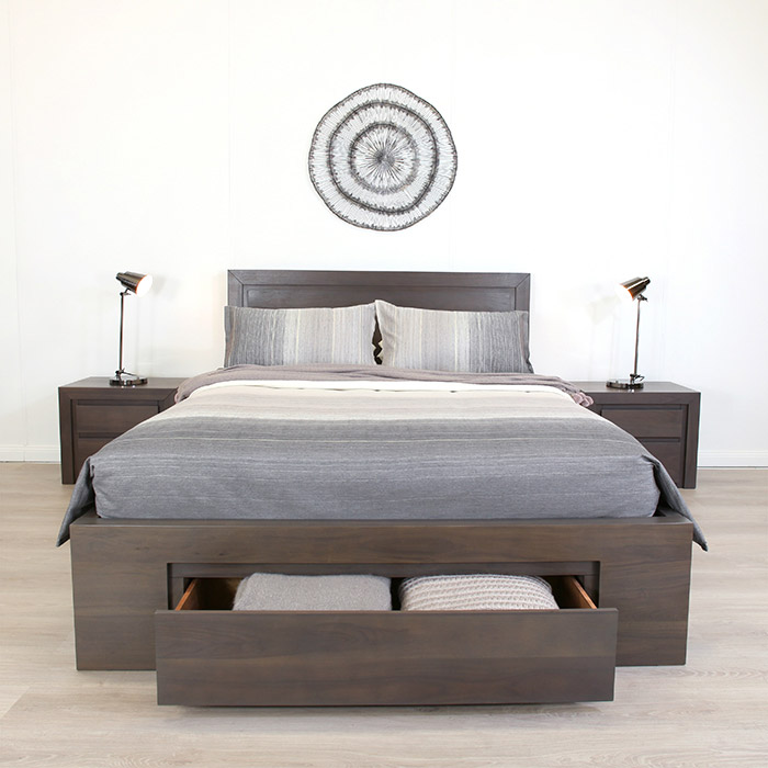VILLA GREY WALNUT DOUBLE LIFT BASE BED F