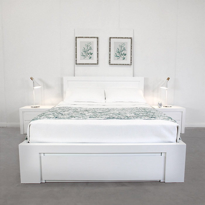 VILLA WHITE KING LIFT BASE BED FRAME