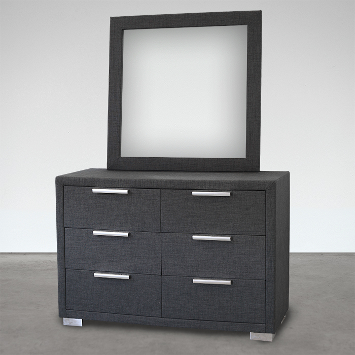 CITI CHARCOAL 6 DRAWER DRESSER WITH MIRR
